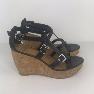Gianni Bini RockStar Wedge Sandal Leather Blk 8.5